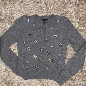 Forever 21•Sequin Embellishments•Grey Sweater